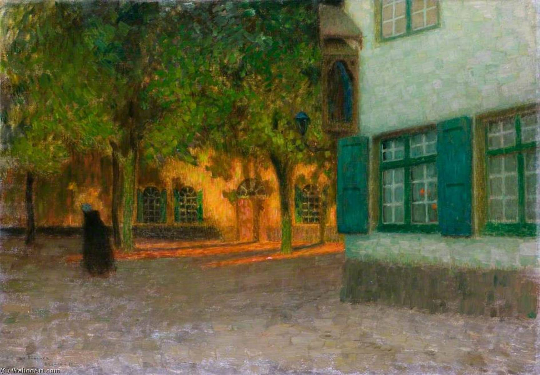 Wikoo.org - موسوعة الفنون الجميلة - اللوحة، العمل الفني Henri Eugène Augustin Le Sidaner - The House with the Green Shutters (Beguinage. Maisons à contre jour, Bruges)