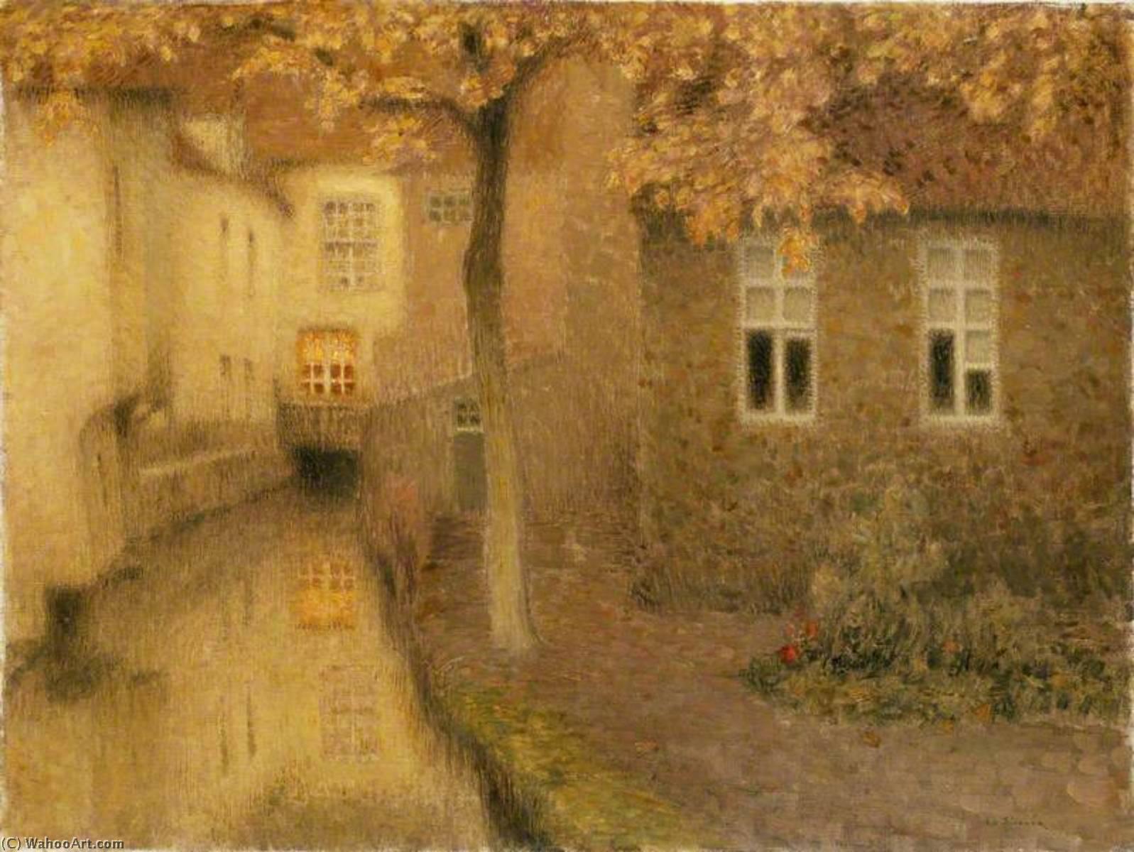 Wikoo.org - موسوعة الفنون الجميلة - اللوحة، العمل الفني Henri Eugène Augustin Le Sidaner - A Canal in Bruges at Dusk