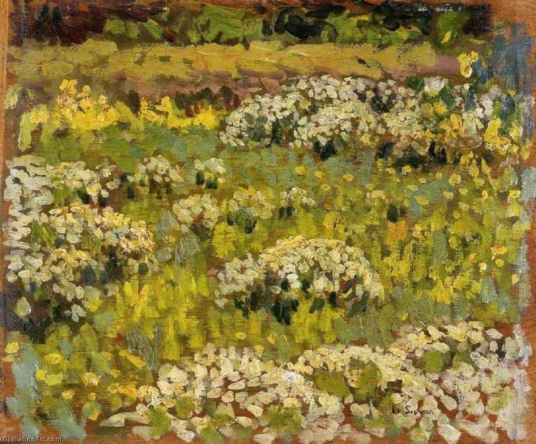 Wikoo.org - موسوعة الفنون الجميلة - اللوحة، العمل الفني Henri Eugène Augustin Le Sidaner - The Pond Garden, Hampton Court