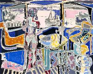 Harbour Window with Two Figures St Ives July 1950