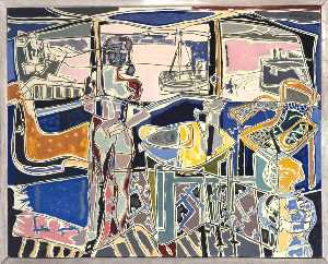 Harbour Window with Two Figures, St Ives July 1950