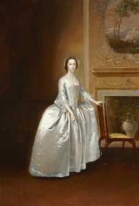 Portrait of an Unknown Lady before a Chimneypiece (possibly Elizabeth Lacey, Mrs Joshua Iremonger III)