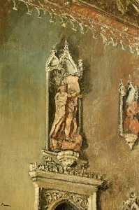 A Detail of the North Wall of the Hall, Lacock Abbey, with Terracotta Sculpture by Victor Alexander Sederbach