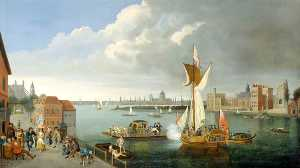 The Thames at Horseferry, with Lambeth Palace and a Distant View of the City, London