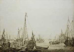 A Dutch Bezan Yacht and Many Other Vessels in a Crowded Harbour beside a Tavern