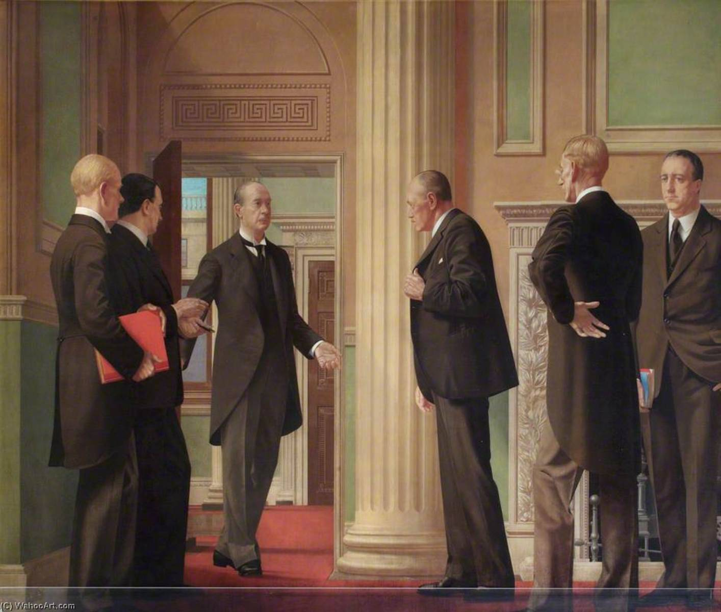 Wikioo.org - The Encyclopedia of Fine Arts - Painting, Artwork by Walter Thomas Monnington - A Director Announcing Bank Rate