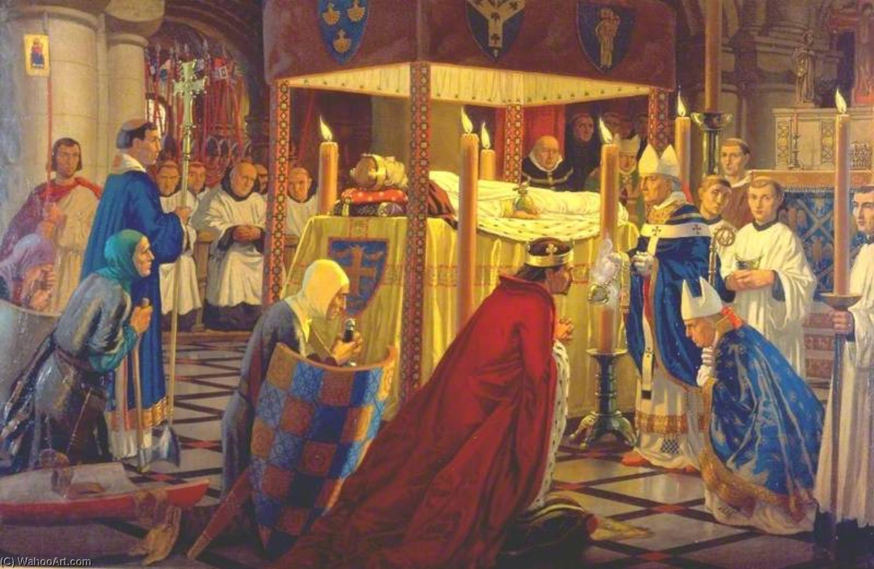 Wikioo.org - The Encyclopedia of Fine Arts - Painting, Artwork by Harry Morley - The Burial of Henry I at Reading Abbey, 4 January 1136