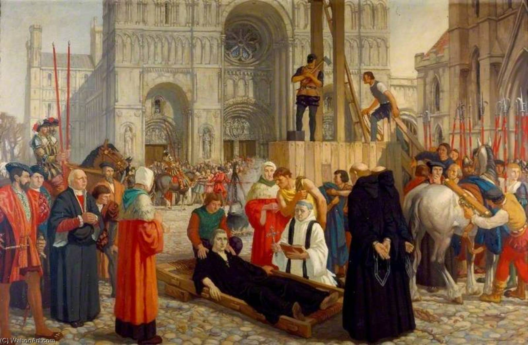 Wikioo.org - The Encyclopedia of Fine Arts - Painting, Artwork by Harry Morley - The Martyrdom of Hugh Faringdon, Last Abbot of Reading, 15 November 1539