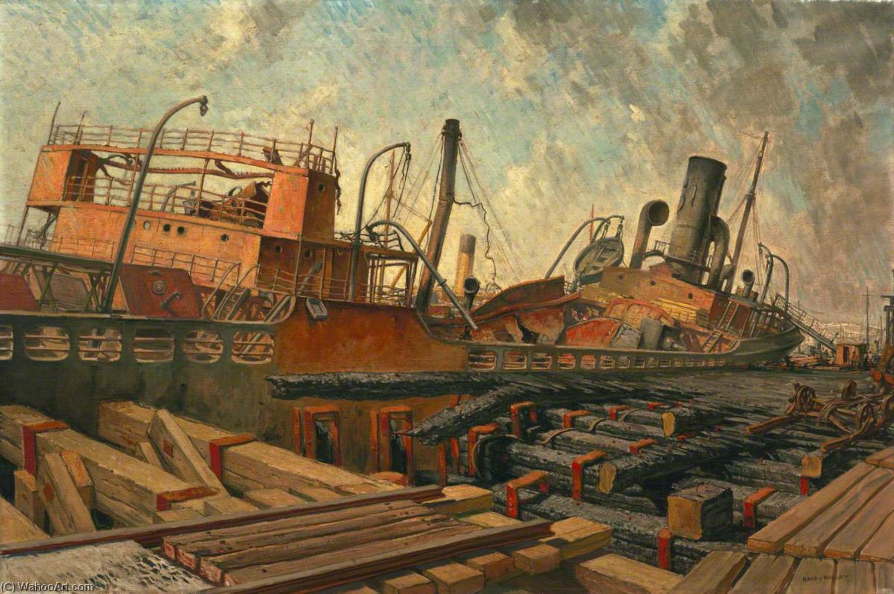 Wikioo.org - The Encyclopedia of Fine Arts - Painting, Artwork by Harry Morley - The Bombed SS 'Toscalusa' at a Western Port