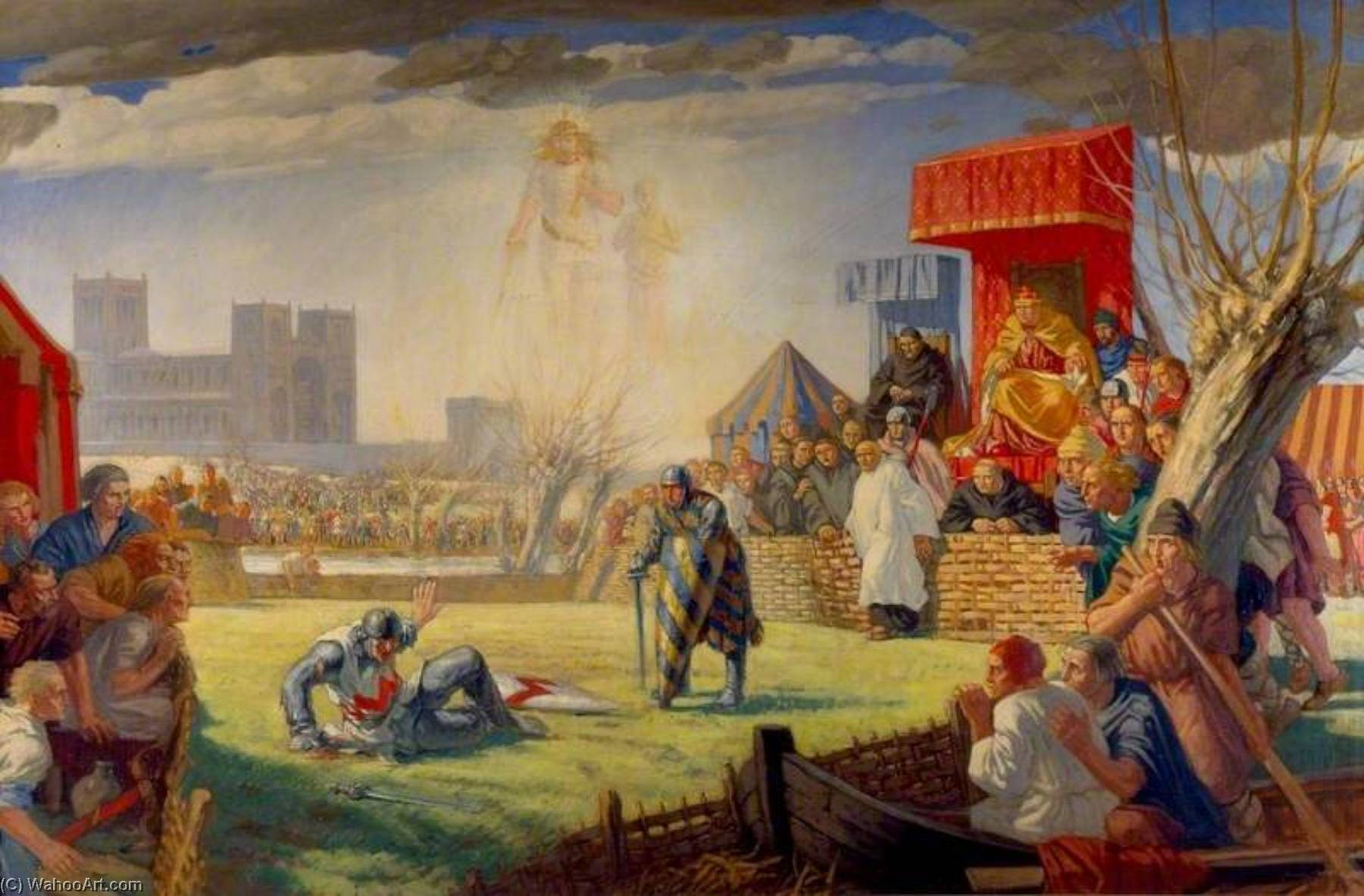 Wikioo.org - The Encyclopedia of Fine Arts - Painting, Artwork by Harry Morley - The Trial by Combat of Henry de Essex and Robert de Montfort at Reading, 8 April 1163