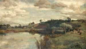 River Scene with a Shepherd and Sheep by a Ferry