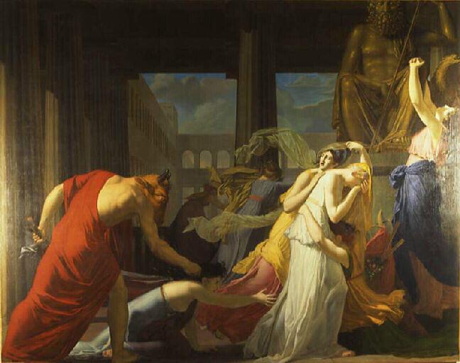 Wikioo.org - The Encyclopedia of Fine Arts - Painting, Artwork by Jean Baptiste Peytavin - Les sept athéniennes livrées au Minotaure