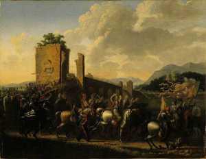 Scène militaire (prise d'une forteresse)