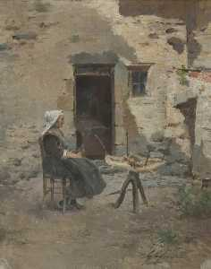 Woman at Spinning Wheel