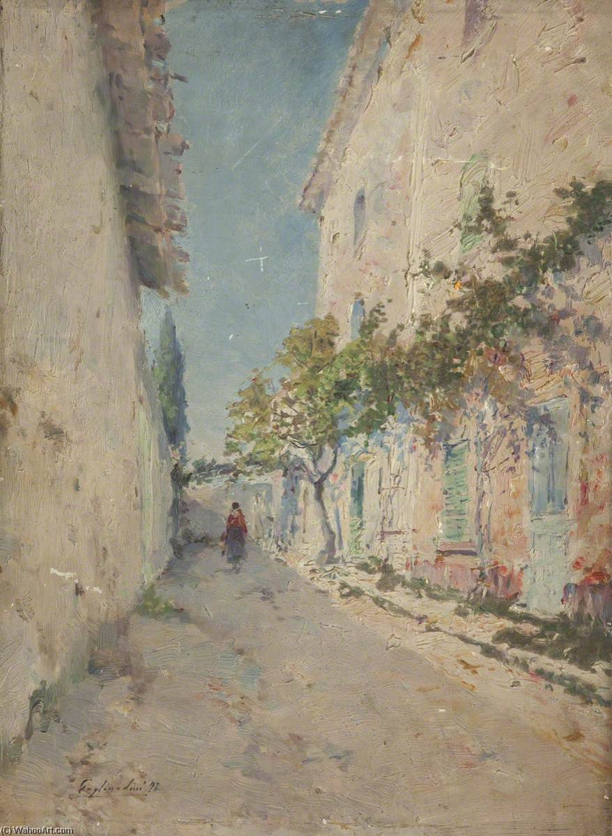 Wikioo.org - The Encyclopedia of Fine Arts - Painting, Artwork by Julien Gustave Gagliardini - A Road at Midday
