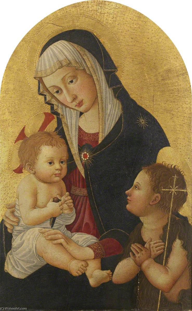 Wikioo.org - The Encyclopedia of Fine Arts - Painting, Artwork by Pseudo Pier Francesco Fiorentino - Virgin and Child with a Goldfinch and the Infant Saint John