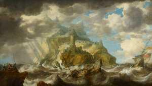 A Dismasted Ship in a Rough Sea