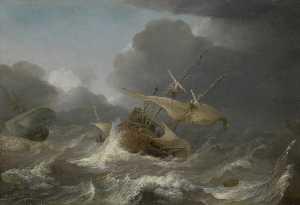 Dutch Ships in a Gale
