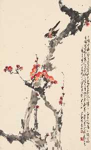 KINGFISHER ON PLUM BLOSSOMS