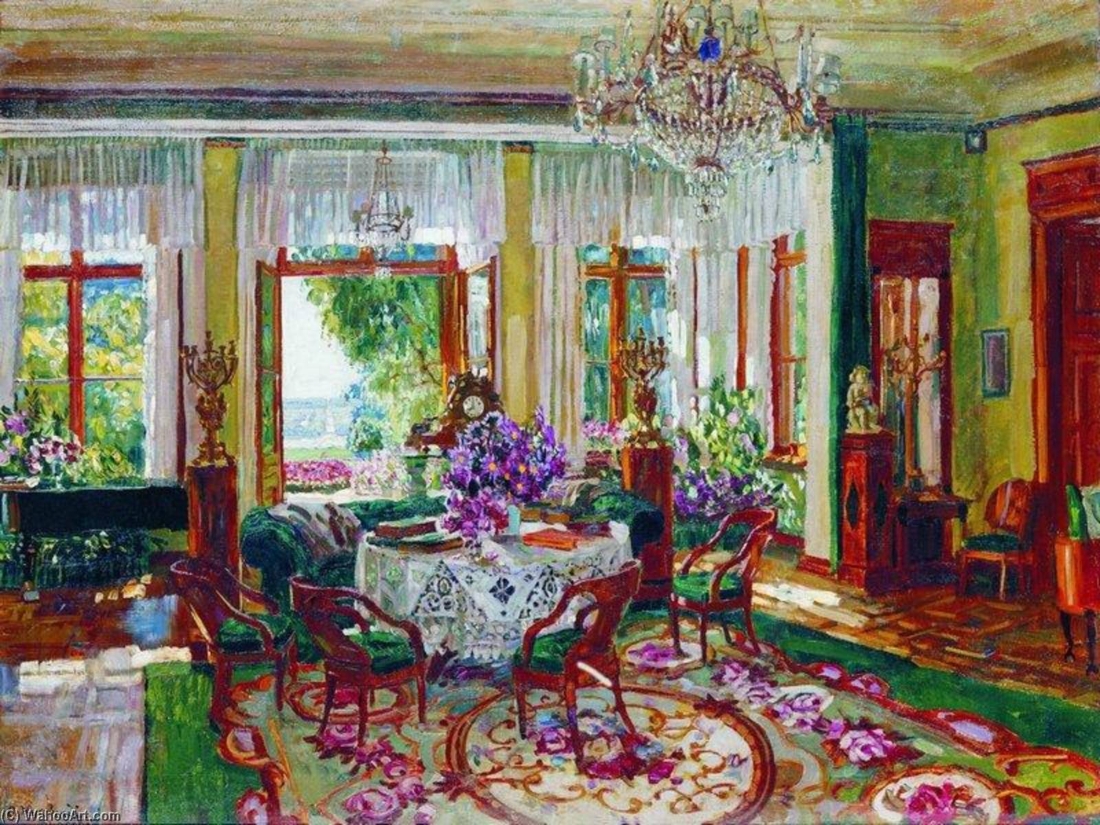 Wikioo.org - The Encyclopedia of Fine Arts - Painting, Artwork by Stanislav Zhukovsky - Interior of a Salon in Brasovo