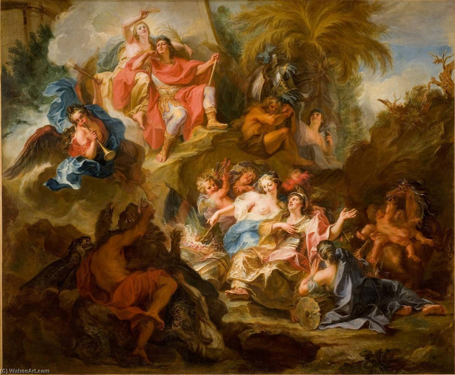 Wikioo.org - The Encyclopedia of Fine Arts - Painting, Artwork by Antoine Coypel Ii - Louis XIV Resting on the Breast of Glory after the Peace of Nimegue