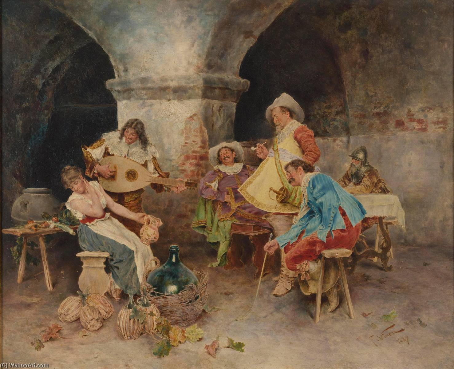 Wikioo.org - The Encyclopedia of Fine Arts - Painting, Artwork by Francesco Vinea - Serenade in the Tavern
