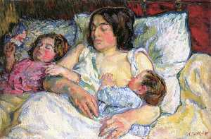 Madame Tarkhoff with Her Two Children Jean and Boris