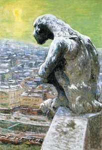 Gargoyle of Notre Dame (also known as Gargoyle of Notre Dame Portruding above the Seine)