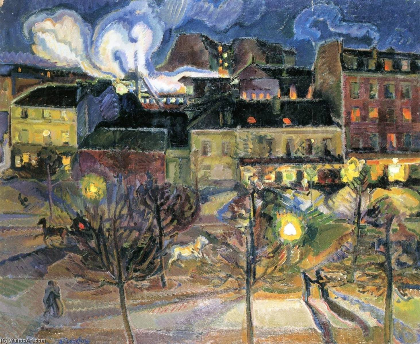 Wikoo.org - موسوعة الفنون الجميلة - اللوحة، العمل الفني Nicolas Tarkhoff - Maine Montmarnasse Railway Station by Night