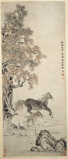 Wikioo.org - The Encyclopedia of Fine Arts - Painting, Artwork by Qian Feng - 清 雙駿圖 軸 Two Horses
