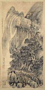 明 清 王鐸 山水圖 軸 Landscape