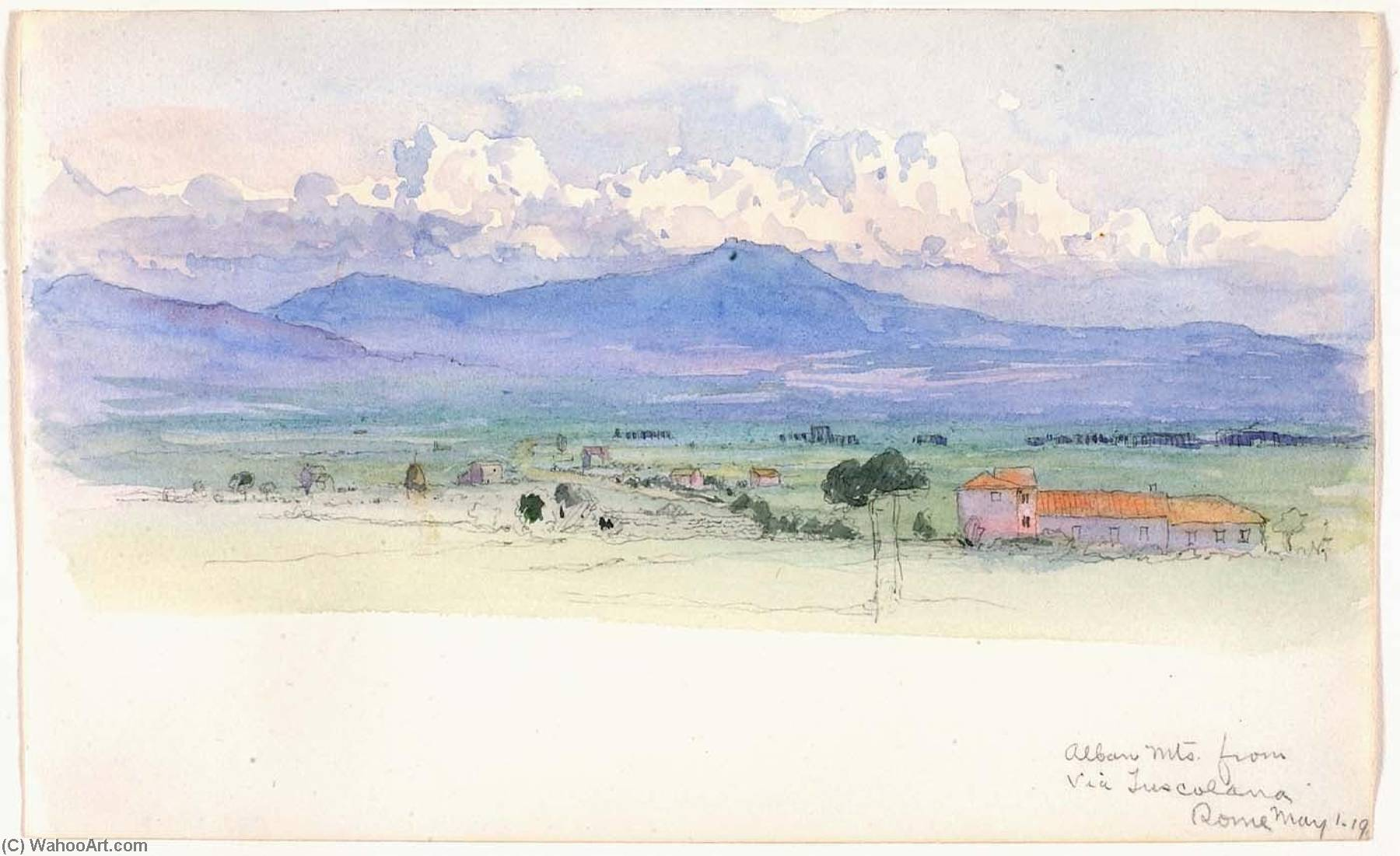 Wikioo.org - The Encyclopedia of Fine Arts - Painting, Artwork by George Elbert Burr - Alban Mountains from Via Tuscolana, Rome