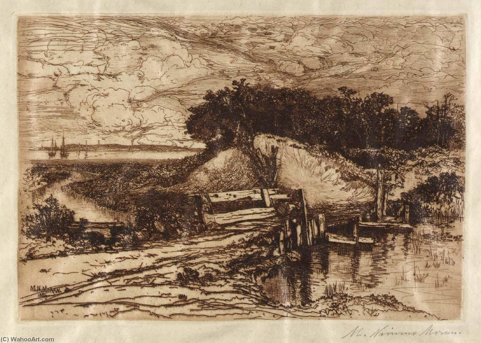 Wikioo.org - The Encyclopedia of Fine Arts - Painting, Artwork by Mary Nimmo Moran - Gardiner's Bay, L.I., Seen from Fresh Pond