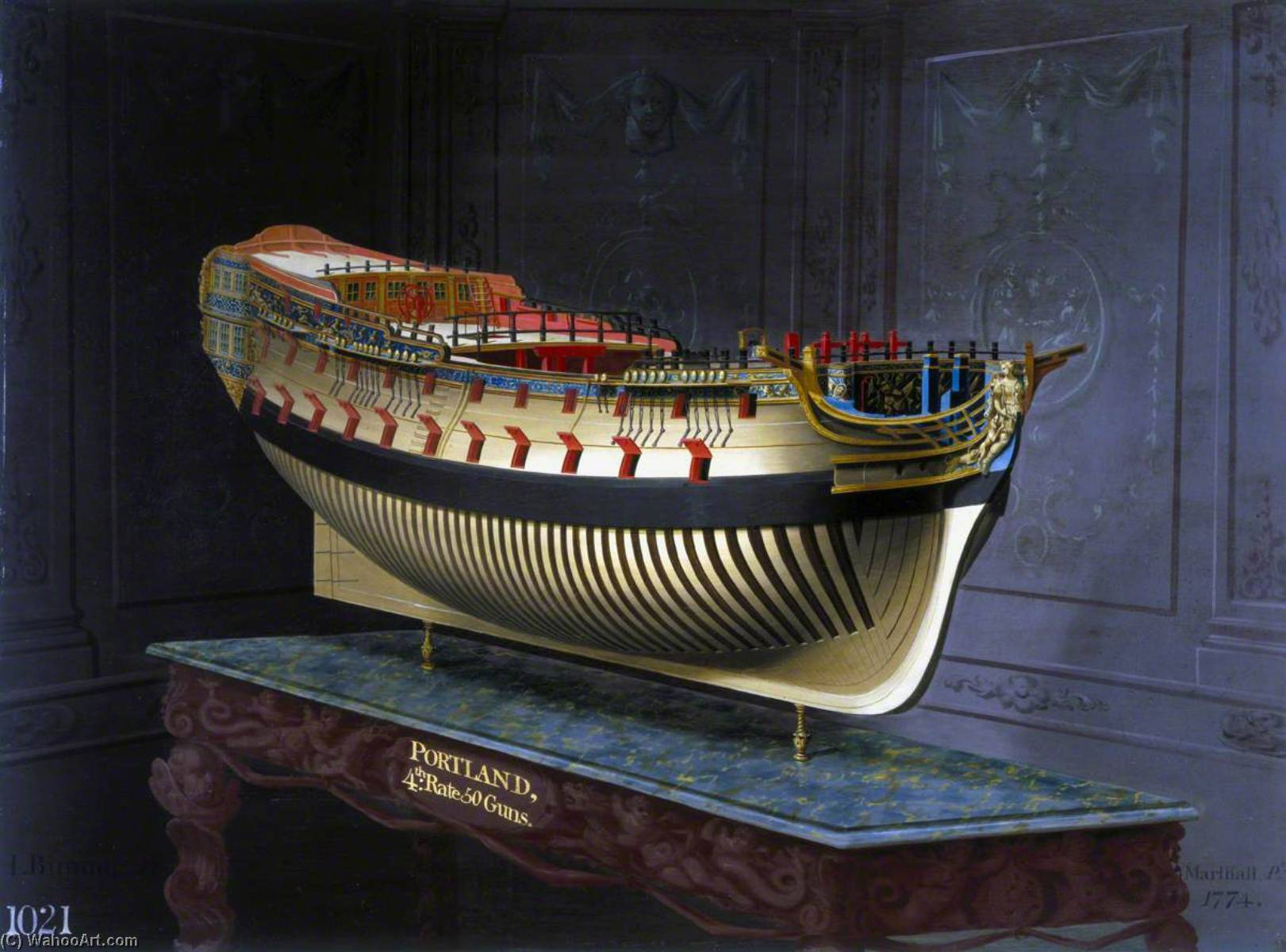 Wikioo.org - The Encyclopedia of Fine Arts - Painting, Artwork by Joseph Marshall - HMS 'Portland'