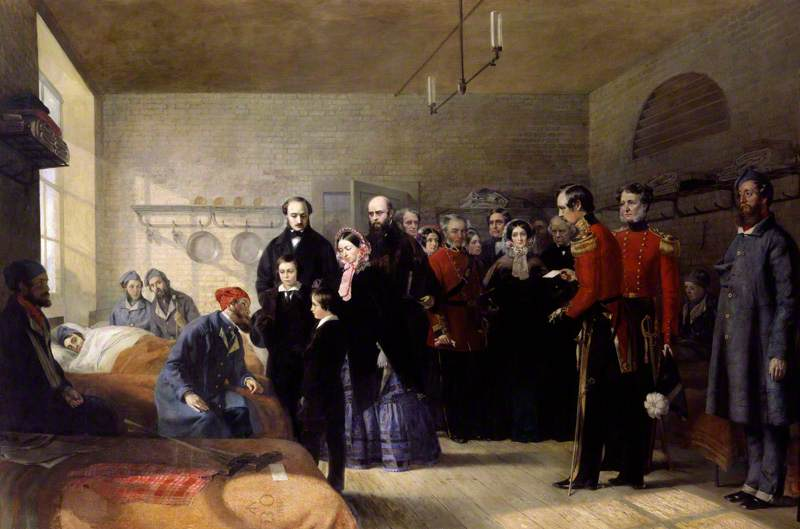 Wikioo.org - The Encyclopedia of Fine Arts - Painting, Artwork by Jerry Barrett - Queen Victoria's First Visit to her Wounded Soldiers