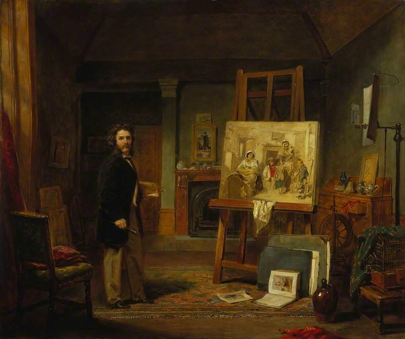 Wikioo.org - The Encyclopedia of Fine Arts - Painting, Artwork by John Ballantyne - Thomas Faed (1826–1900), Artist, in his Studio