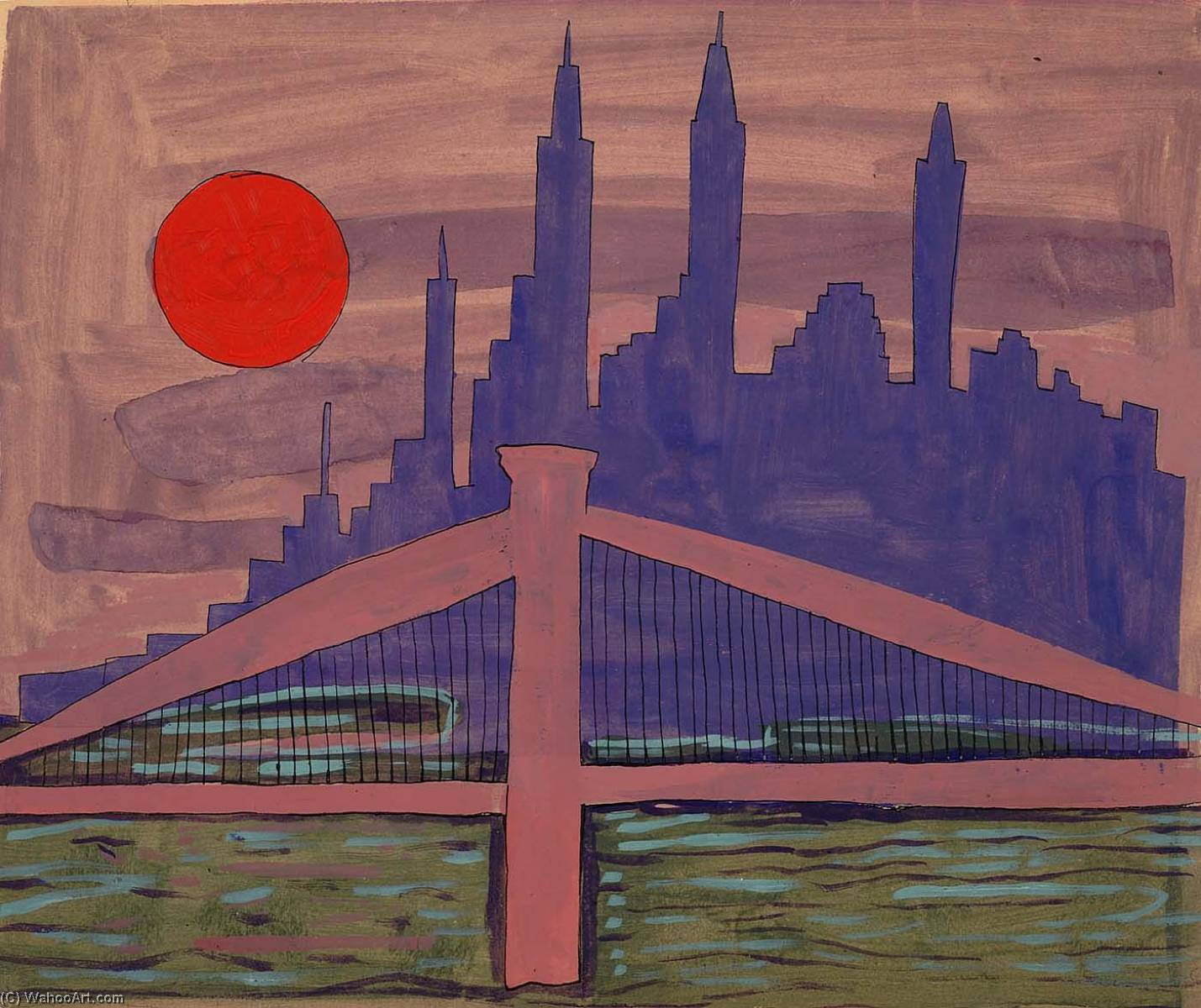 Wikioo.org - The Encyclopedia of Fine Arts - Painting, Artwork by William Henry Johnson - New York Skyline at Night