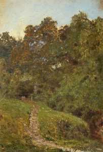A Study, A Grassy Bank, with Trees