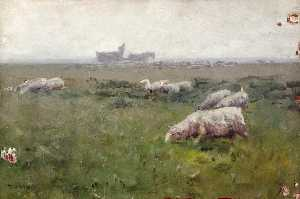 Landscape with Grazing Sheep