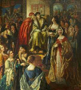 King Henry VII Fining the Citizens of Bristol Because Their Wives Were So Finely Dressed, 1490