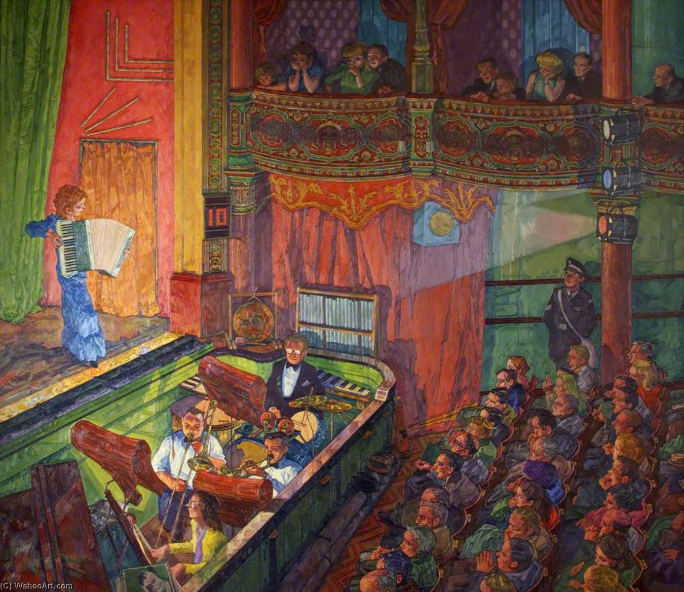 Wikioo.org - The Encyclopedia of Fine Arts - Painting, Artwork by Francis Hewlett - Accordion Player