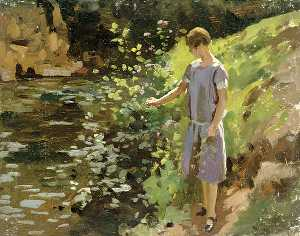 Woman in a Purple Dress Picking Flowers on a Riverbank
