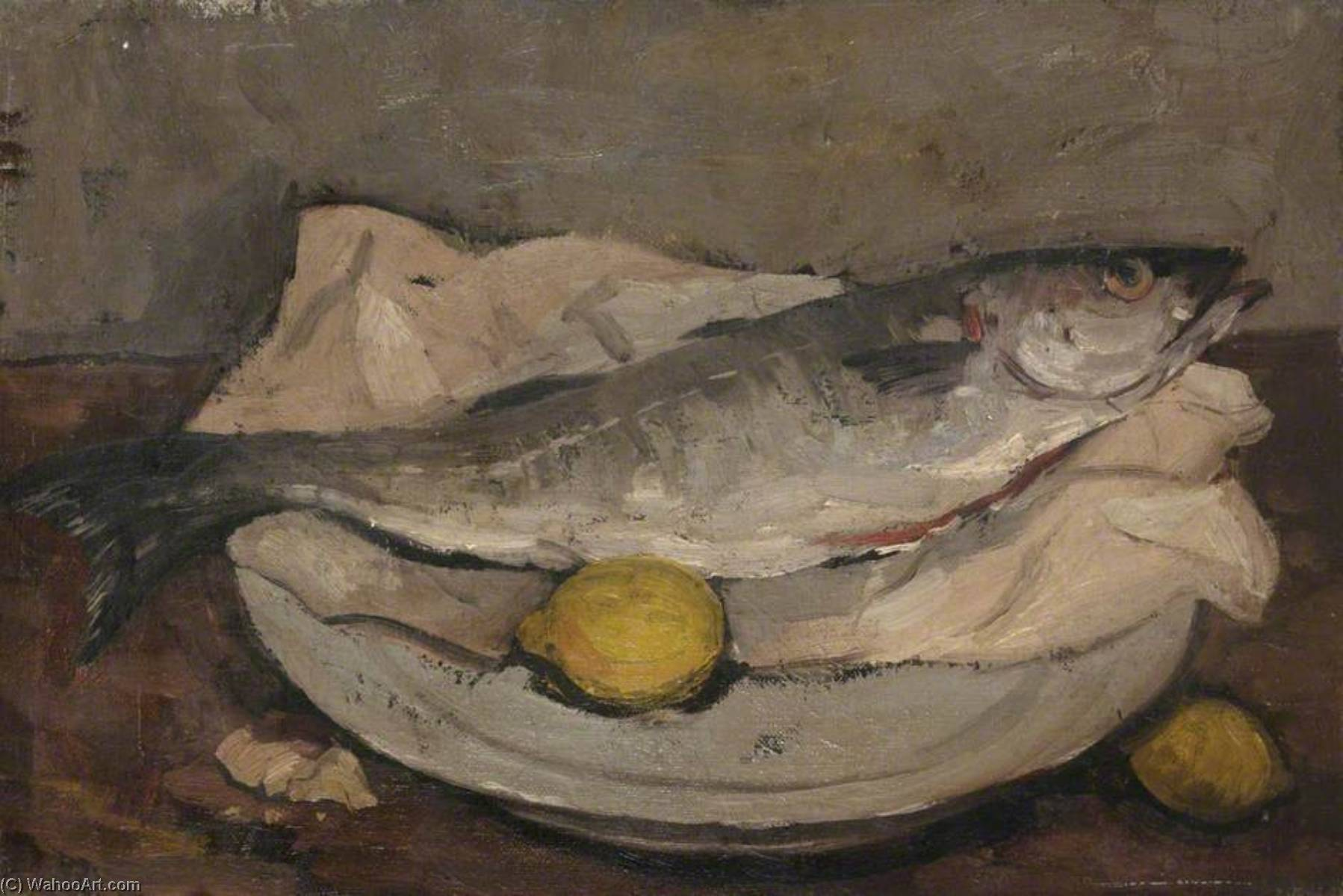 Wikioo.org - The Encyclopedia of Fine Arts - Painting, Artwork by Alastair Frederick Flattely - Still Life with Fish