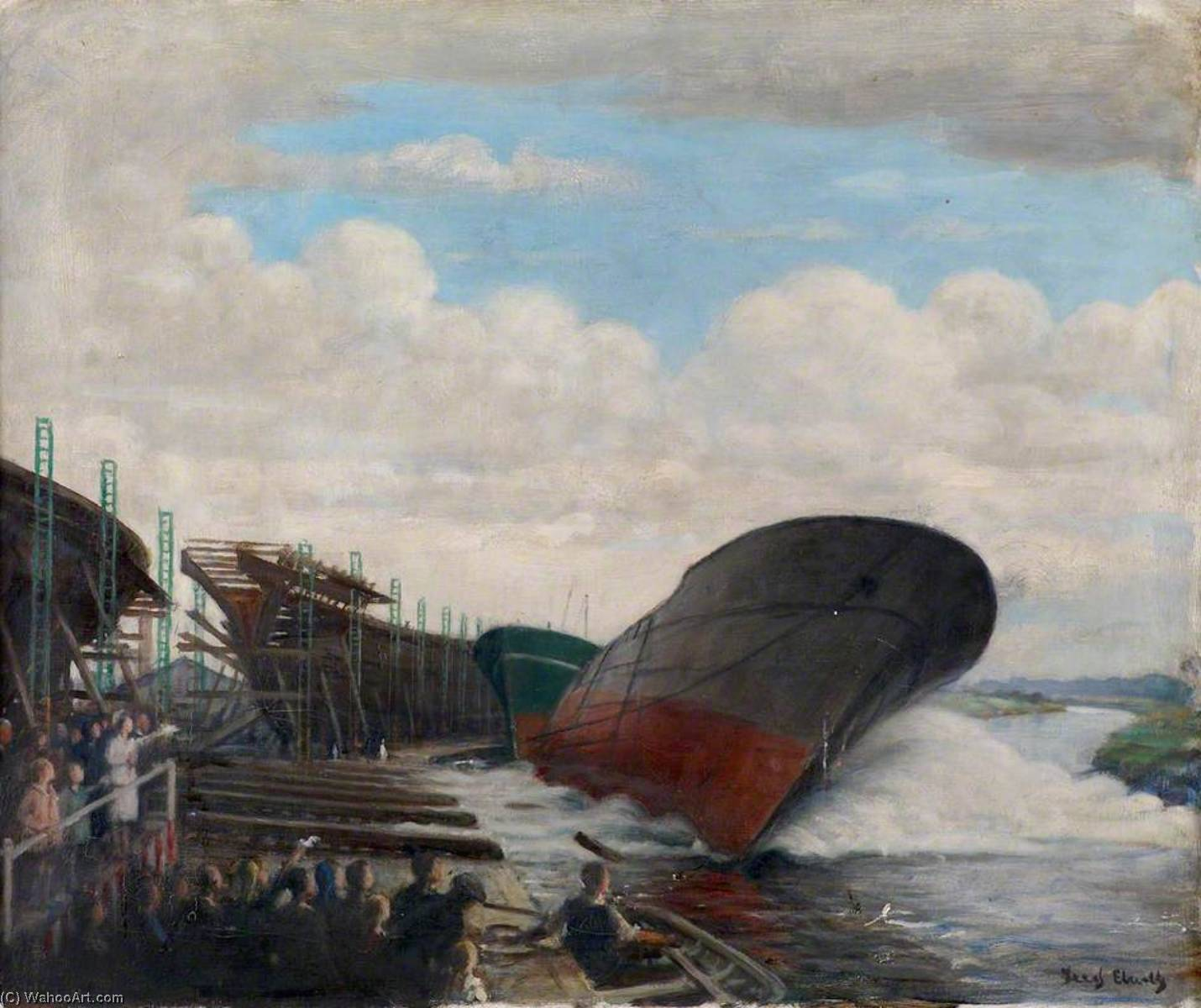 Wikioo.org - The Encyclopedia of Fine Arts - Painting, Artwork by Frederick William Elwell - Beverley Shipyard, East Riding of Yorkshire (Launching Trawler)