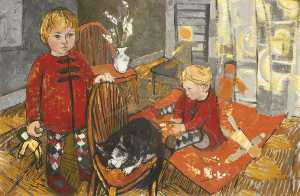 Two Children with a Cat
