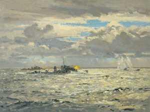 A Destroyer Sinking a Submarine
