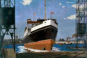 Launch of 'TSS Duke of York', Queen's Island, Belfast (London, Midland and Scottish Railway poster artwork)