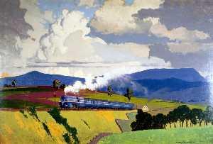 The 'Coronation Scot' Ascending Shap Fell, Cumbria (London, Midland and Scottish Railway poster artwork)
