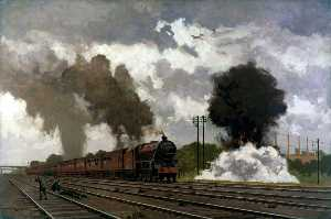 London, Midland and Scottish Express Train Being Bombed near Bletchley, October 1940 (The LMS at War Series)