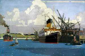 View of Docks with SS 'Duke of Argyll' at Quay (London, Midland and Scottish Railway poster artwork)